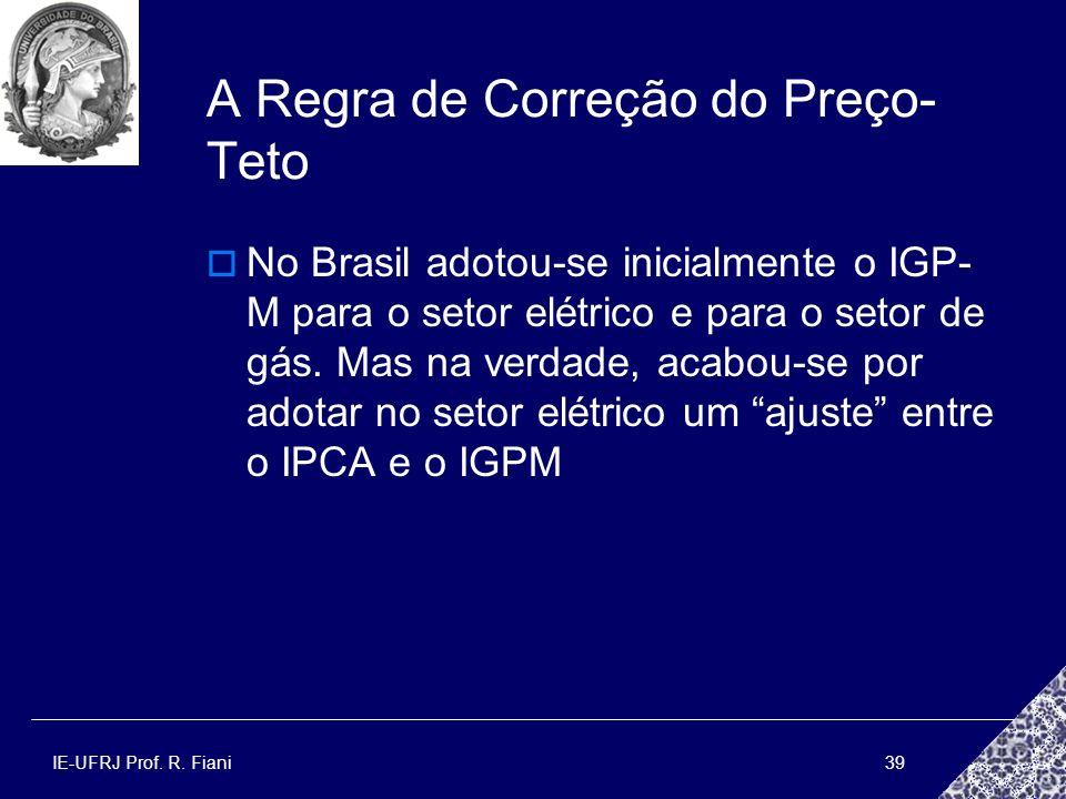 IE-UFRJ Prof. R. Fiani39 A Regra de Correção do Preço- Teto No Brasil adotou-se inicialmente o IGP- M para o setor elétrico e para o setor de gás. Mas