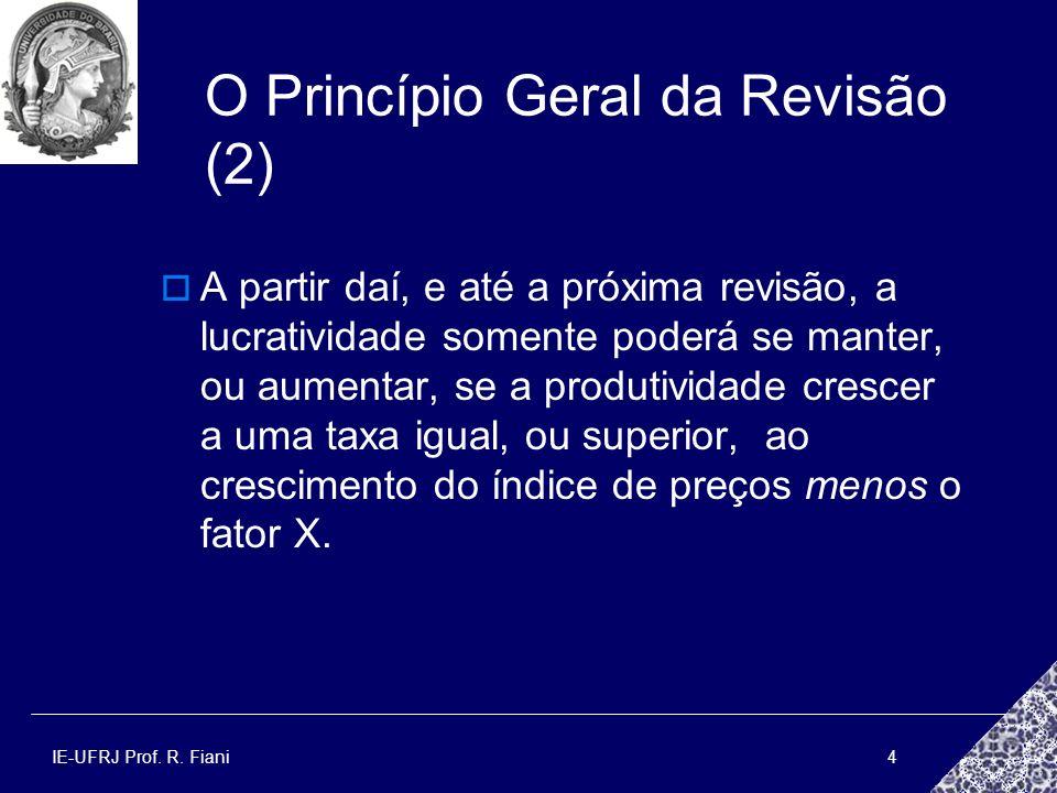 IE-UFRJ Prof. R. Fiani4 O Princípio Geral da Revisão (2) A partir daí, e até a próxima revisão, a lucratividade somente poderá se manter, ou aumentar,