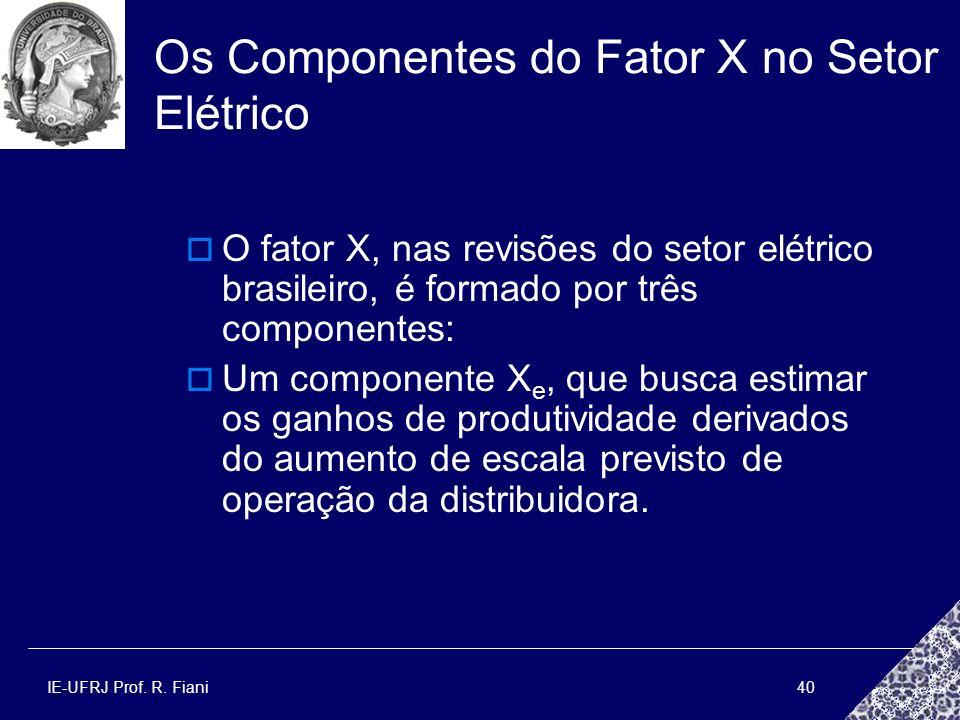 IE-UFRJ Prof. R. Fiani40 Os Componentes do Fator X no Setor Elétrico O fator X, nas revisões do setor elétrico brasileiro, é formado por três componen