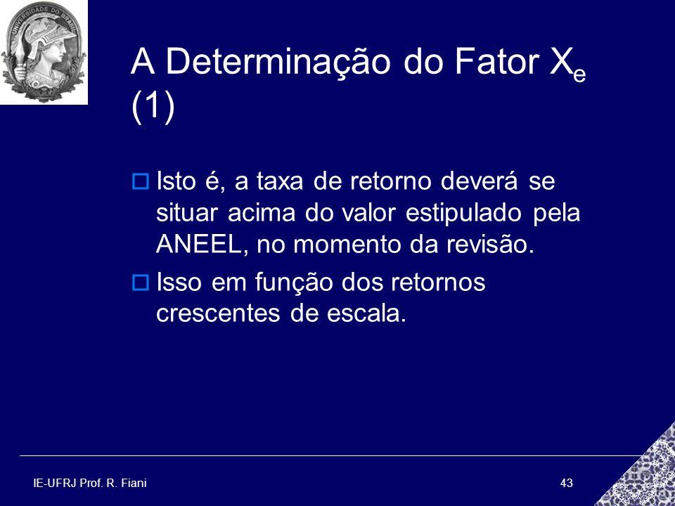 IE-UFRJ Prof. R. Fiani43 A Determinação do Fator X e (1) Isto é, a taxa de retorno deverá se situar acima do valor estipulado pela ANEEL, no momento d
