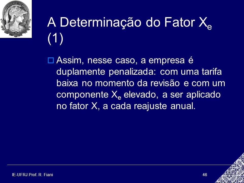 IE-UFRJ Prof. R. Fiani46 A Determinação do Fator X e (1) Assim, nesse caso, a empresa é duplamente penalizada: com uma tarifa baixa no momento da revi