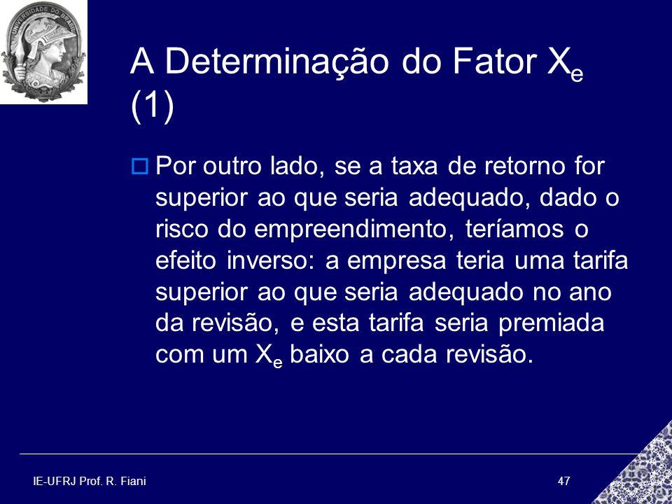 IE-UFRJ Prof. R. Fiani47 A Determinação do Fator X e (1) Por outro lado, se a taxa de retorno for superior ao que seria adequado, dado o risco do empr