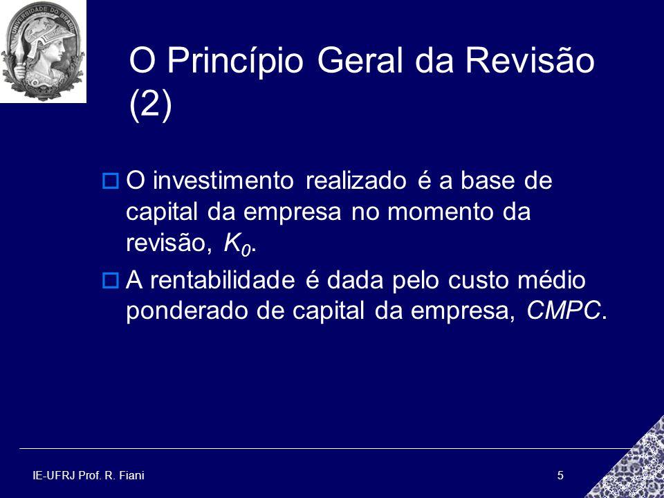 IE-UFRJ Prof. R. Fiani5 O Princípio Geral da Revisão (2) O investimento realizado é a base de capital da empresa no momento da revisão, K 0. A rentabi