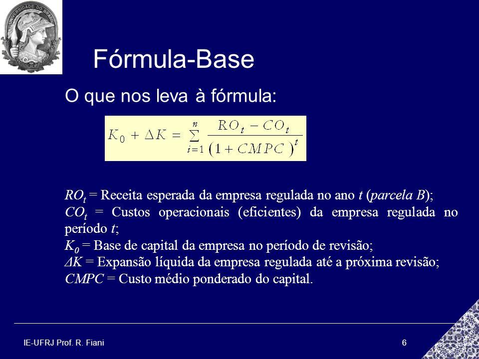 IE-UFRJ Prof. R. Fiani6 Fórmula-Base RO t = Receita esperada da empresa regulada no ano t (parcela B); CO t = Custos operacionais (eficientes) da empr
