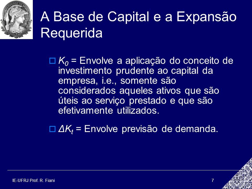 IE-UFRJ Prof. R. Fiani7 A Base de Capital e a Expansão Requerida K 0 = Envolve a aplicação do conceito de investimento prudente ao capital da empresa,
