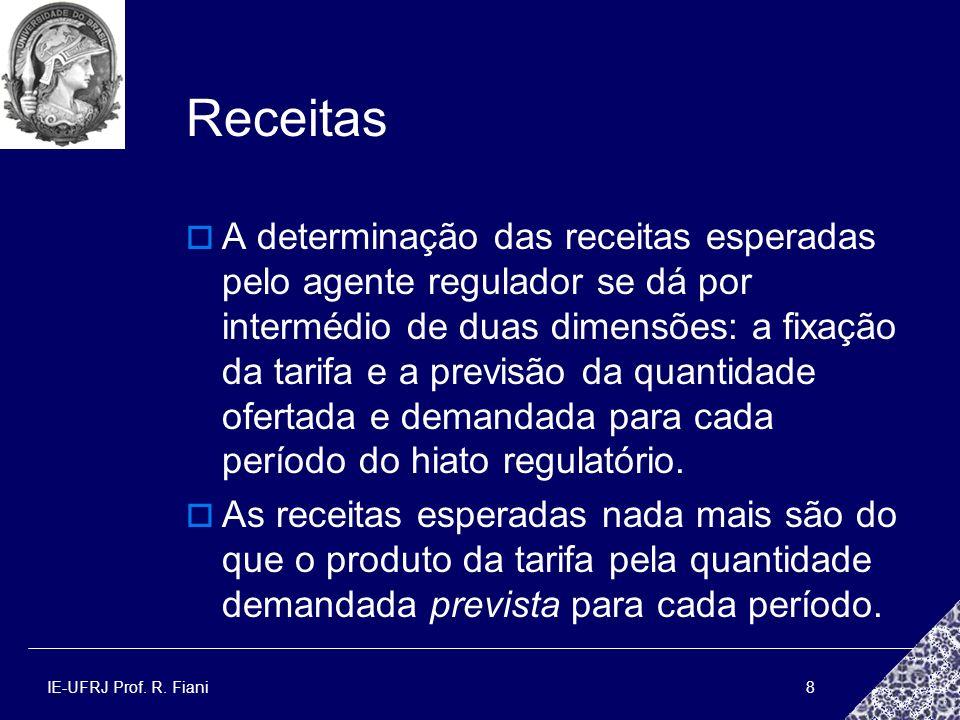 IE-UFRJ Prof. R. Fiani8 Receitas A determinação das receitas esperadas pelo agente regulador se dá por intermédio de duas dimensões: a fixação da tari