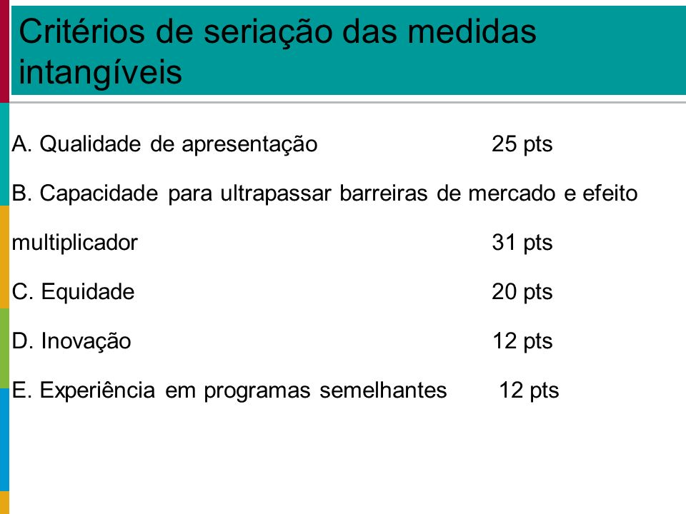 Global: - 159 medidas elegíveis, - 48 promotores, - custos aprox.
