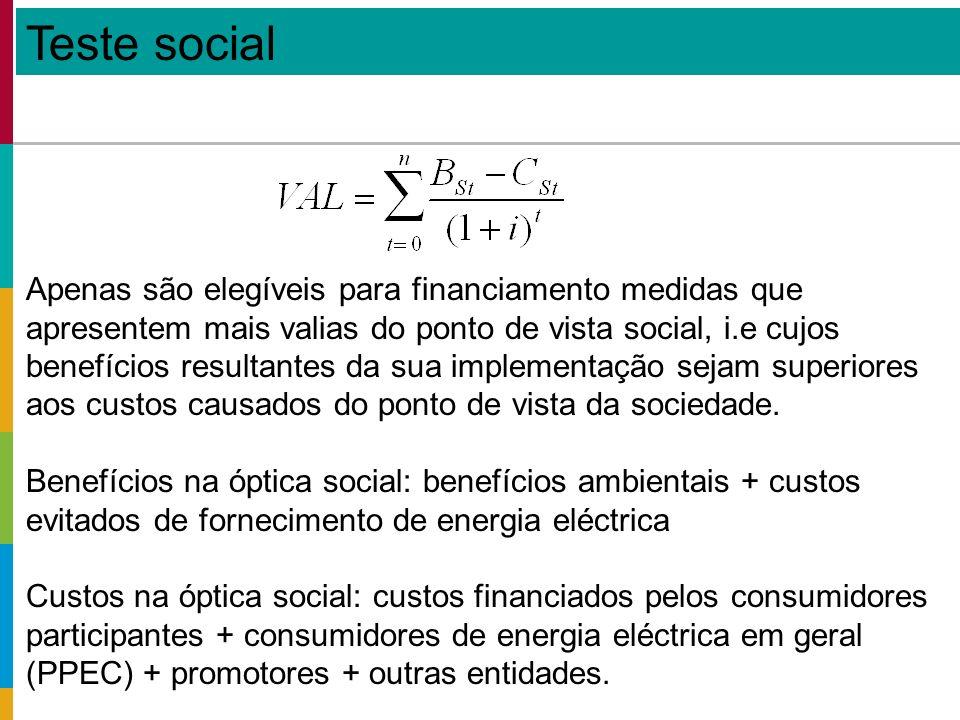 Teste social Apenas são elegíveis para financiamento medidas que apresentem mais valias do ponto de vista social, i.e cujos benefícios resultantes da sua implementação sejam superiores aos custos causados do ponto de vista da sociedade.