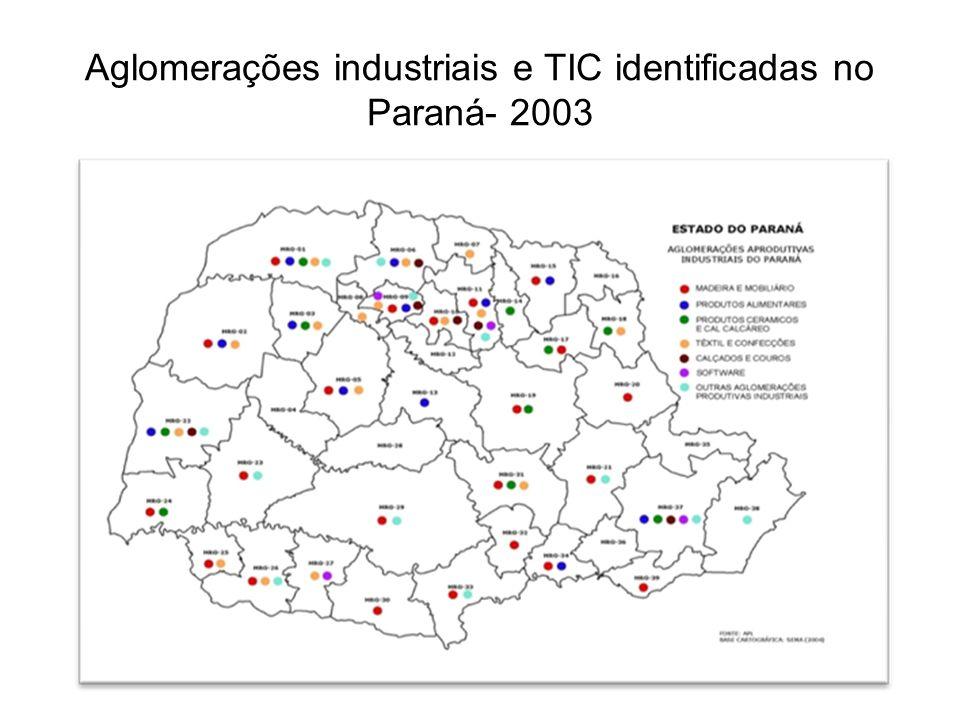Aglomerações industriais e TIC identificadas no Paraná- 2003