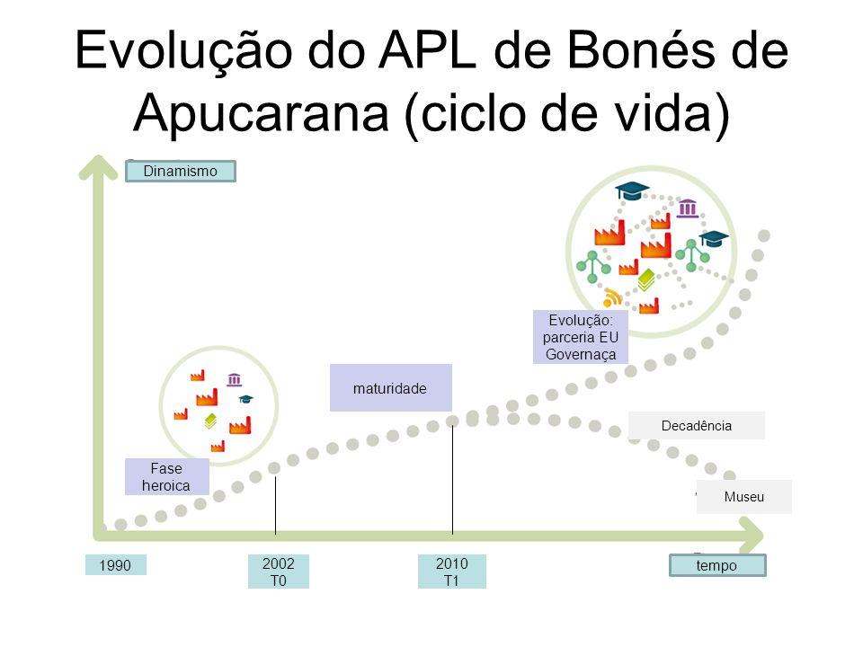 Evolução do APL de Bonés de Apucarana (ciclo de vida) Dinamismo tempo Fase heroica 2002 T0 2010 T1 1990 maturidade Evolução: parceria EU Governaça Dec