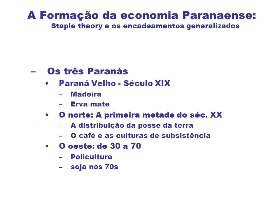 A Formação da economia Paranaense: Staple theory e os encadeamentos generalizados –Os três Paranás Paraná Velho - Século XIX –Madeira –Erva mate O nor