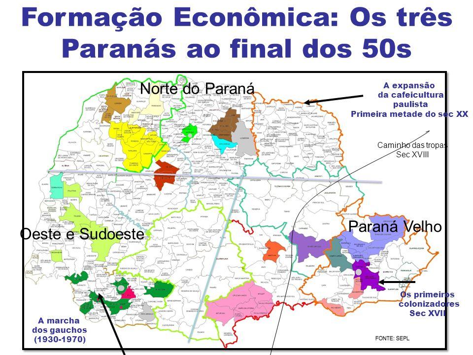 Formação Econômica: Os três Paranás ao final dos 50s Paraná Velho Norte do Paraná Oeste e Sudoeste Caminho das tropas Sec XVIII Os primeiros colonizad