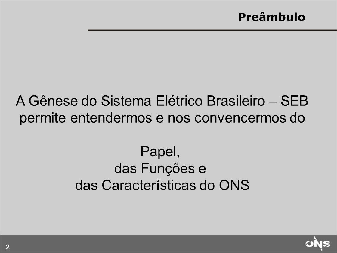2 A Gênese do Sistema Elétrico Brasileiro – SEB permite entendermos e nos convencermos do Papel, das Funções e das Características do ONS Preâmbulo