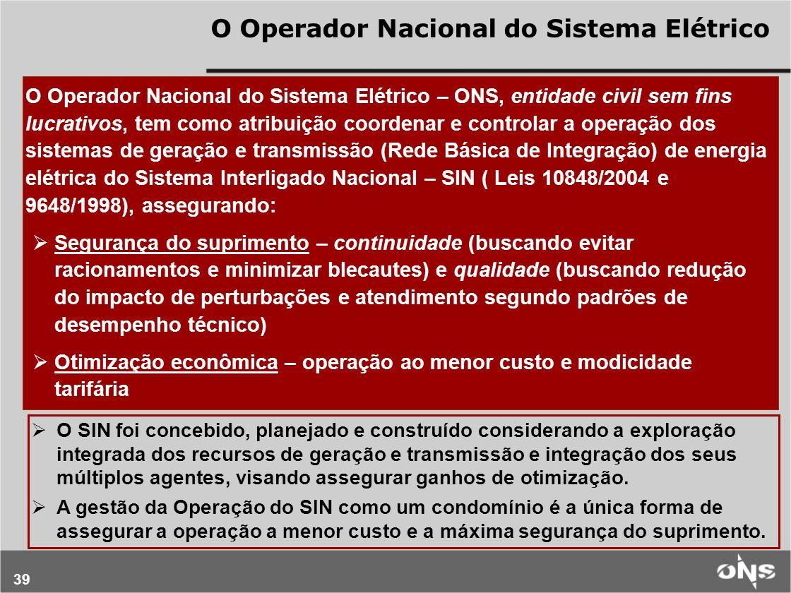 39 O Operador Nacional do Sistema Elétrico – ONS, entidade civil sem fins lucrativos, tem como atribuição coordenar e controlar a operação dos sistema