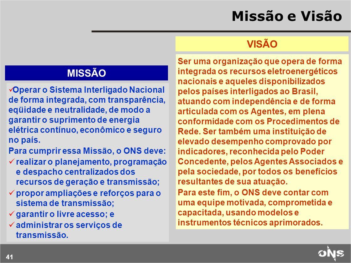 41 Missão e Visão VISÃO Ser uma organização que opera de forma integrada os recursos eletroenergéticos nacionais e aqueles disponibilizados pelos país