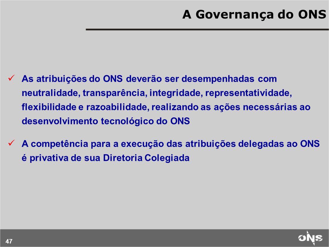 47 A Governança do ONS As atribuições do ONS deverão ser desempenhadas com neutralidade, transparência, integridade, representatividade, flexibilidade