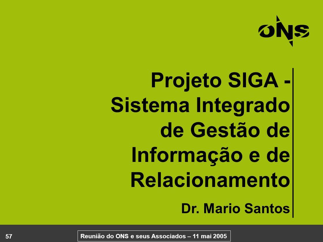 Projeto SIGA - Sistema Integrado de Gestão de Informação e de Relacionamento Dr. Mario Santos 57 Reunião do ONS e seus Associados – 11 mai 2005