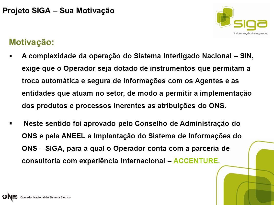 Projeto SIGA – Sua Motivação A complexidade da operação do Sistema Interligado Nacional – SIN, exige que o Operador seja dotado de instrumentos que pe