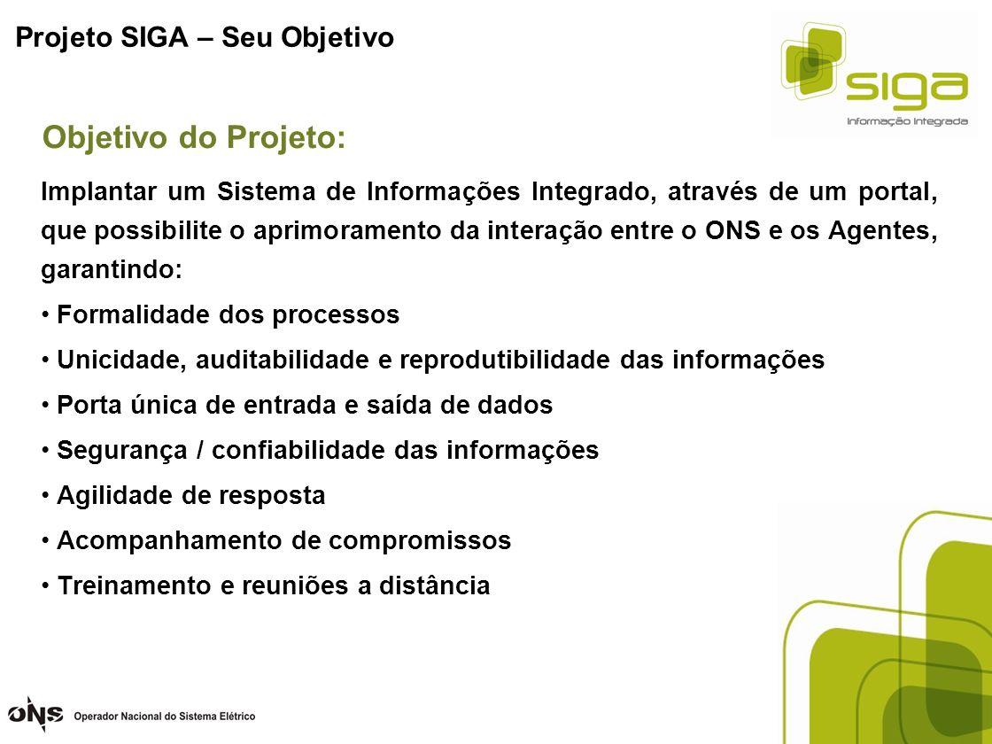 Projeto SIGA – PRINCIPAIS BENEFÍCIOS PARA OS AGENTES (G, T e D) Maior segurança quanto às informações trocadas entre os Agentes e o ONS Unicidade no intercâmbio de dados (canal único)