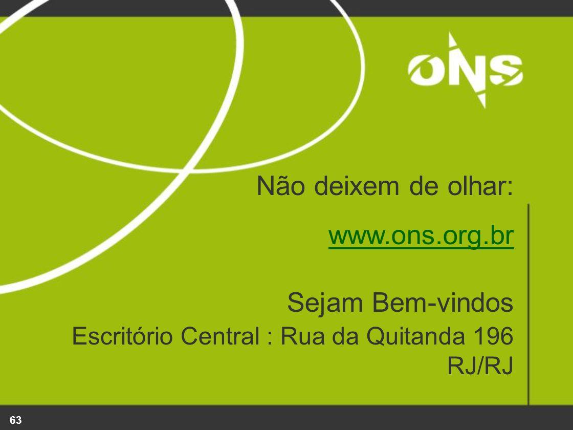 63 Não deixem de olhar: www.ons.org.br Sejam Bem-vindos Escritório Central : Rua da Quitanda 196 RJ/RJ