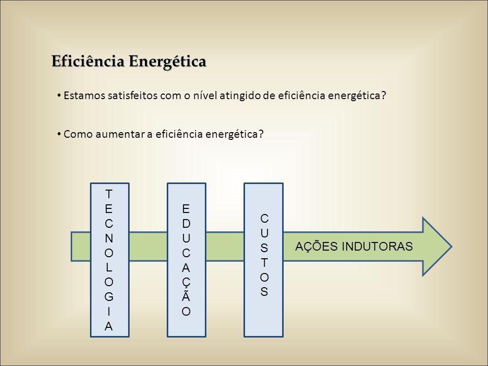Eficiência Energética Estamos satisfeitos com o nível atingido de eficiência energética? Como aumentar a eficiência energética? TECNOLOGIATECNOLOGIA E