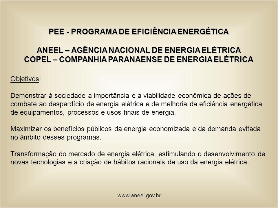 PEE - PROGRAMA DE EFICIÊNCIA ENERGÉTICA ANEEL – AGÊNCIA NACIONAL DE ENERGIA ELÉTRICA COPEL – COMPANHIA PARANAENSE DE ENERGIA ELÉTRICA Objetivos: Demon