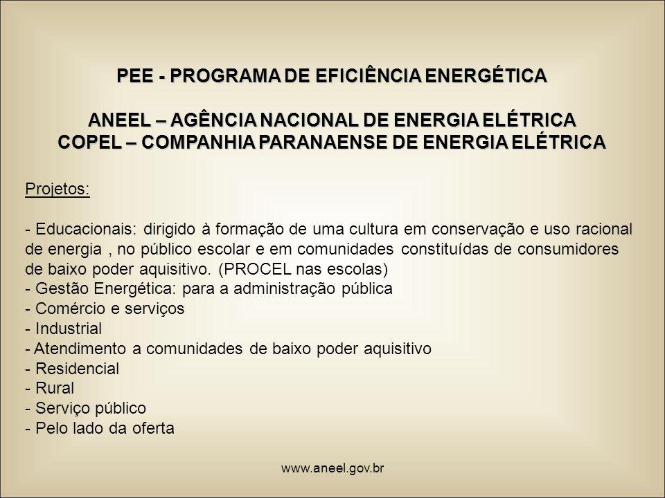 PEE - PROGRAMA DE EFICIÊNCIA ENERGÉTICA ANEEL – AGÊNCIA NACIONAL DE ENERGIA ELÉTRICA COPEL – COMPANHIA PARANAENSE DE ENERGIA ELÉTRICA Projetos: - Educ