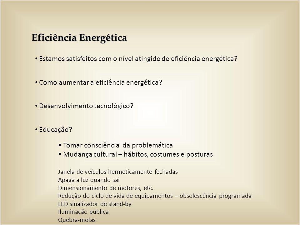Eficiência Energética Estamos satisfeitos com o nível atingido de eficiência energética? Como aumentar a eficiência energética? Desenvolvimento tecnol