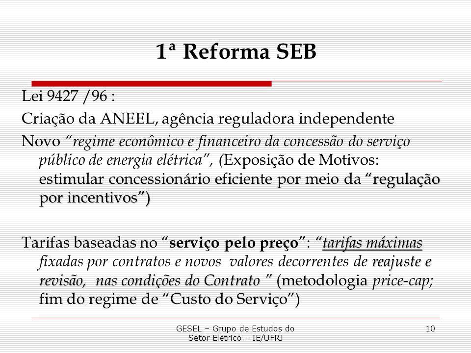 GESEL – Grupo de Estudos do Setor Elétrico – IE/UFRJ 10 Lei 9427 /96 : Criação da ANEEL, agência reguladora independente regulação por incentivos) Nov