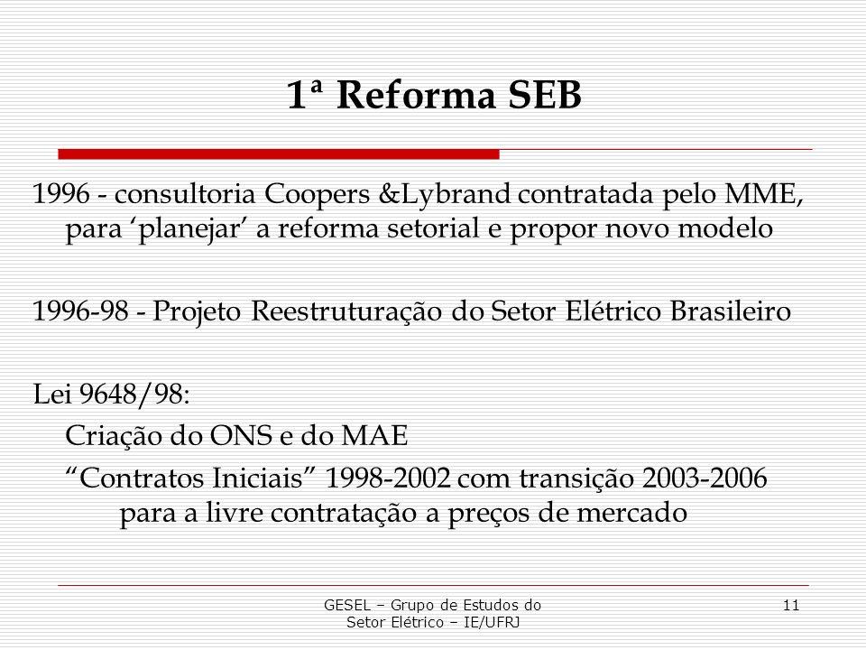 GESEL – Grupo de Estudos do Setor Elétrico – IE/UFRJ 11 1996 - consultoria Coopers &Lybrand contratada pelo MME, para planejar a reforma setorial e pr