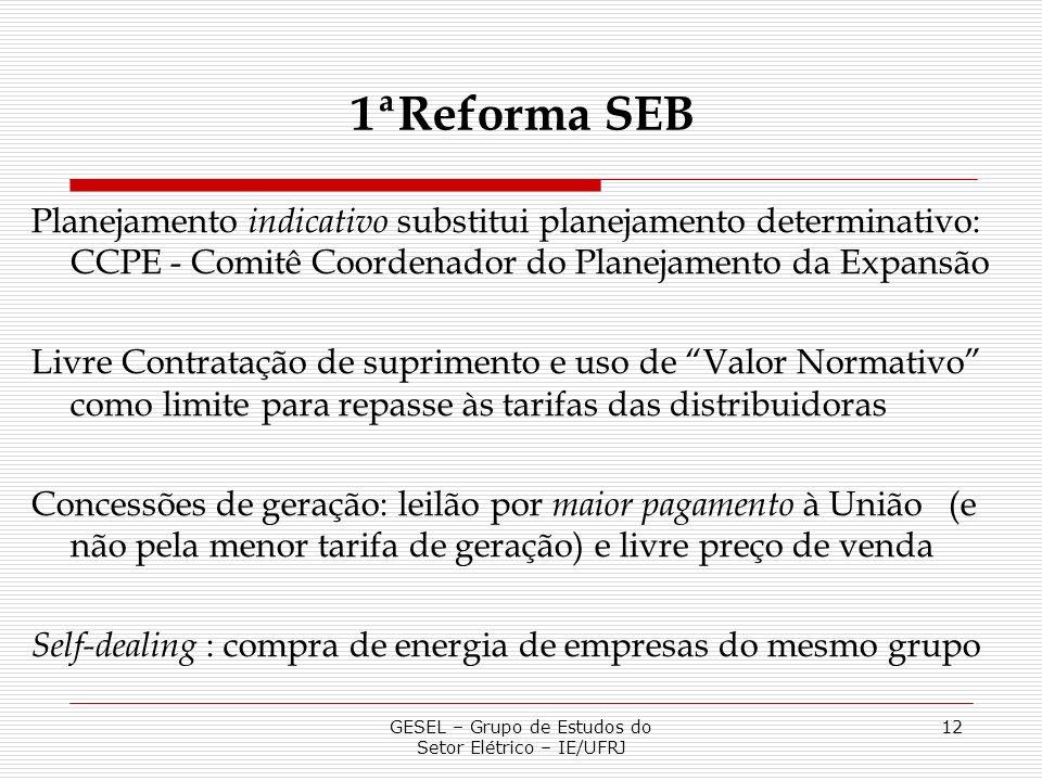 GESEL – Grupo de Estudos do Setor Elétrico – IE/UFRJ 12 Planejamento indicativo substitui planejamento determinativo: CCPE - Comitê Coordenador do Pla