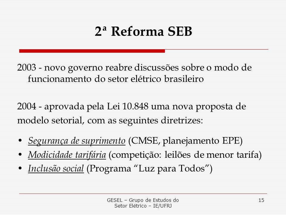 GESEL – Grupo de Estudos do Setor Elétrico – IE/UFRJ 15 2003 - novo governo reabre discussões sobre o modo de funcionamento do setor elétrico brasilei