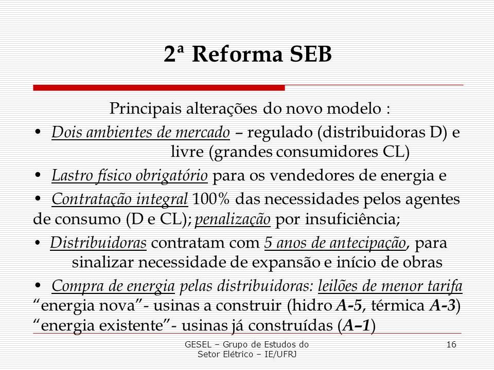 GESEL – Grupo de Estudos do Setor Elétrico – IE/UFRJ 16 Principais alterações do novo modelo : Dois ambientes de mercado – regulado (distribuidoras D)