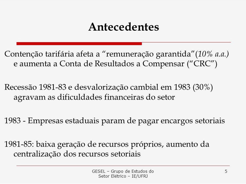 GESEL – Grupo de Estudos do Setor Elétrico – IE/UFRJ 5 Contenção tarifária afeta a remuneração garantida( 10% a.a.) e aumenta a Conta de Resultados a