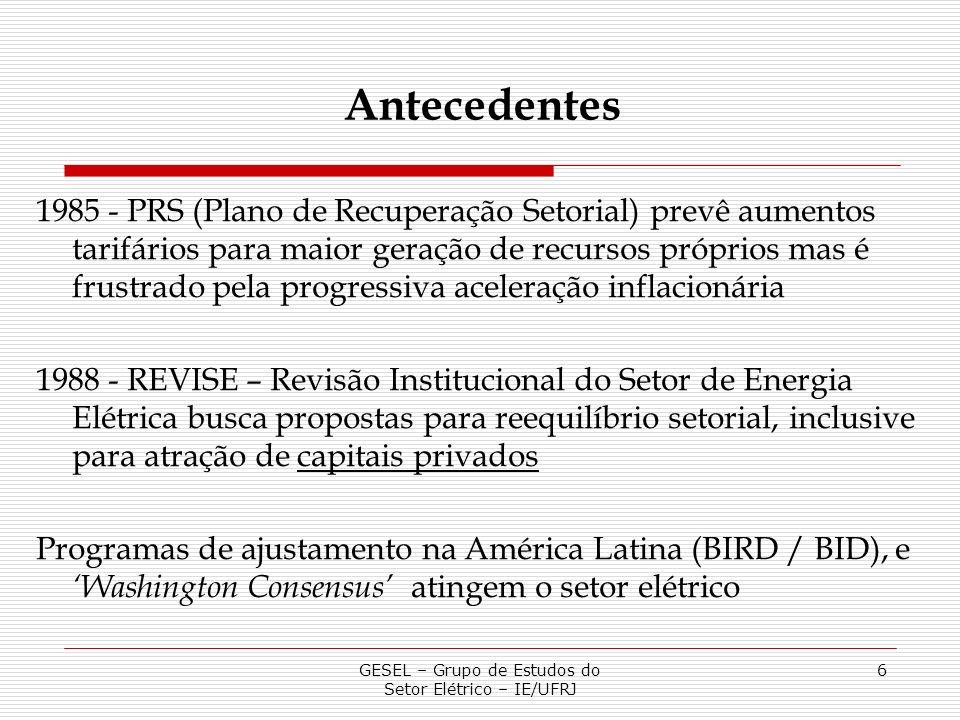 GESEL – Grupo de Estudos do Setor Elétrico – IE/UFRJ 6 1985 - PRS (Plano de Recuperação Setorial) prevê aumentos tarifários para maior geração de recu