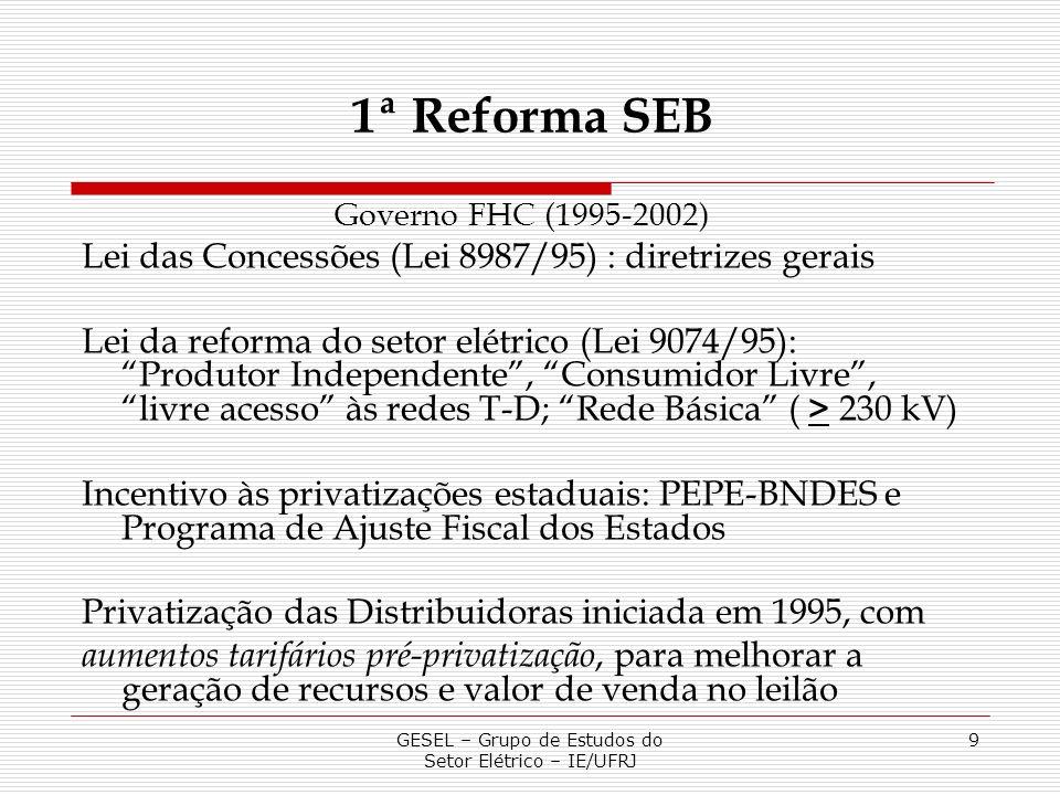 GESEL – Grupo de Estudos do Setor Elétrico – IE/UFRJ 9 1ª Reforma SEB Governo FHC (1995-2002) Lei das Concessões (Lei 8987/95) : diretrizes gerais Lei