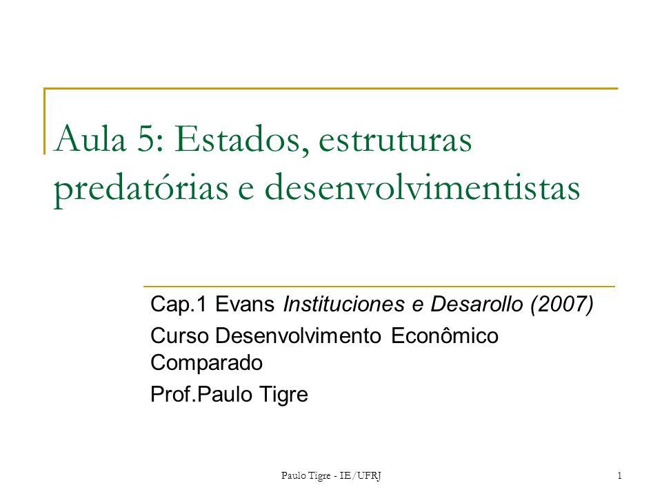 Aula 5: Estados, estruturas predatórias e desenvolvimentistas Cap.1 Evans Instituciones e Desarollo (2007) Curso Desenvolvimento Econômico Comparado P