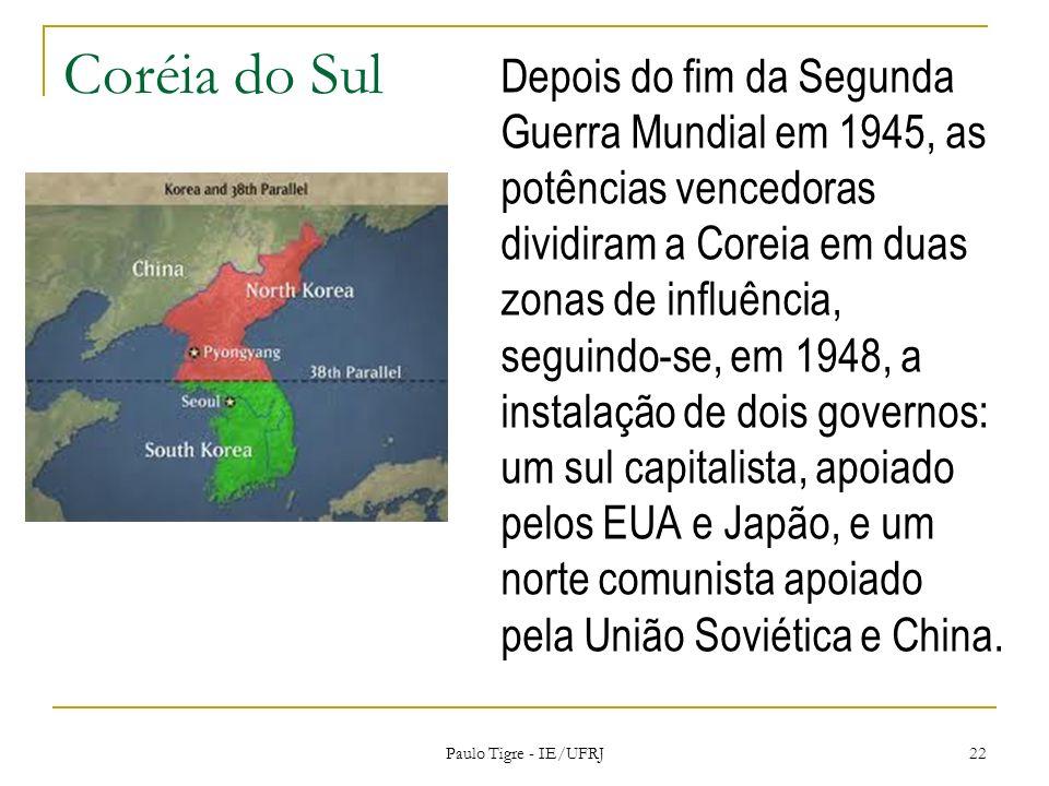 Coréia do Sul Depois do fim da Segunda Guerra Mundial em 1945, as potências vencedoras dividiram a Coreia em duas zonas de influência, seguindo-se, em