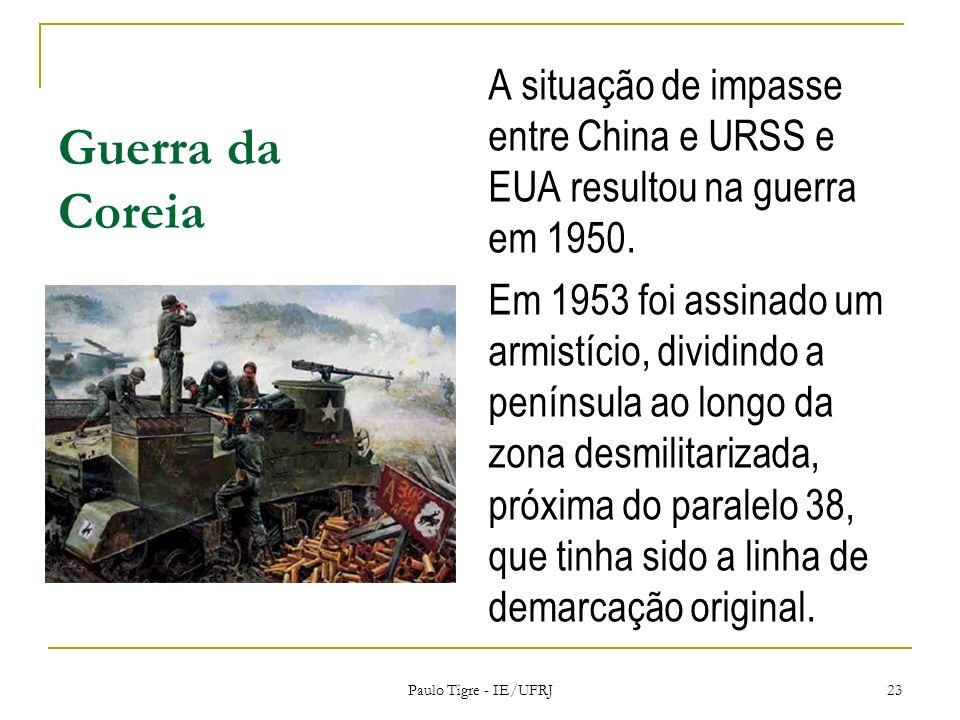 Guerra da Coreia A situação de impasse entre China e URSS e EUA resultou na guerra em 1950. Em 1953 foi assinado um armistício, dividindo a península