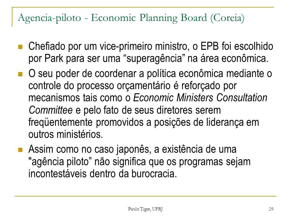 Agencia-piloto - Economic Planning Board (Coreia) Chefiado por um vice-primeiro ministro, o EPB foi escolhido por Park para ser uma superagência na ár