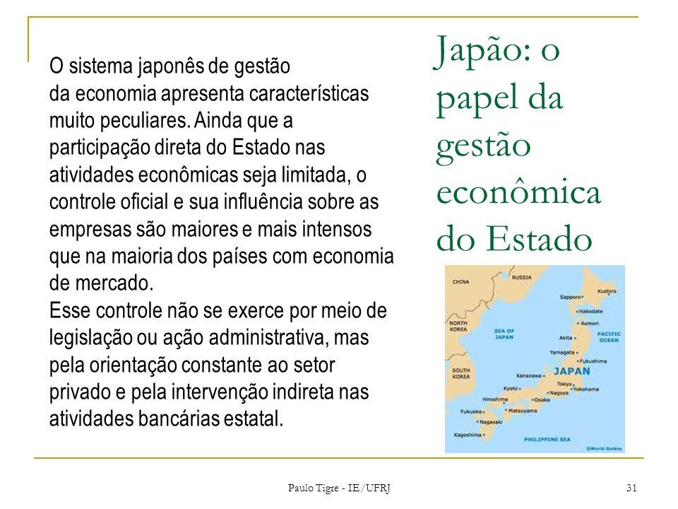 Japão: o papel da gestão econômica do Estado Paulo Tigre - IE/UFRJ 31 O sistema japonês de gestão da economia apresenta características muito peculiar