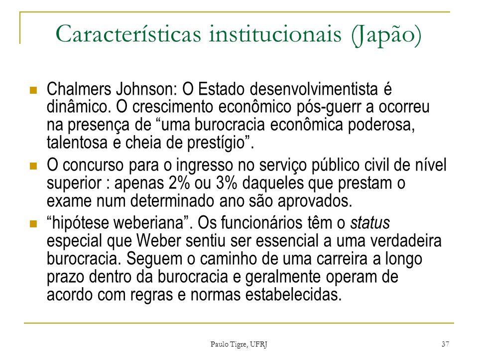 Características institucionais (Japão) Chalmers Johnson: O Estado desenvolvimentista é dinâmico. O crescimento econômico pós-guerr a ocorreu na presen