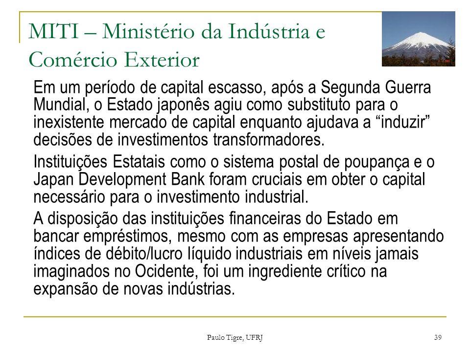 MITI – Ministério da Indústria e Comércio Exterior Em um período de capital escasso, após a Segunda Guerra Mundial, o Estado japonês agiu como substit