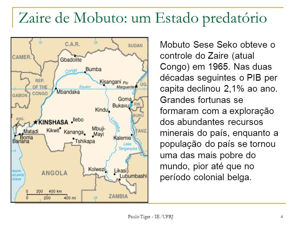 Zaire de Mobuto: um Estado predatório Mobuto Sese Seko obteve o controle do Zaire (atual Congo) em 1965. Nas duas décadas seguintes o PIB per capita d