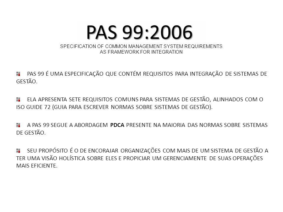 PAS 99 É UMA ESPECIFICAÇÃO QUE CONTÉM REQUISITOS PARA INTEGRAÇÃO DE SISTEMAS DE GESTÃO. ELA APRESENTA SETE REQUISITOS COMUNS PARA SISTEMAS DE GESTÃO,