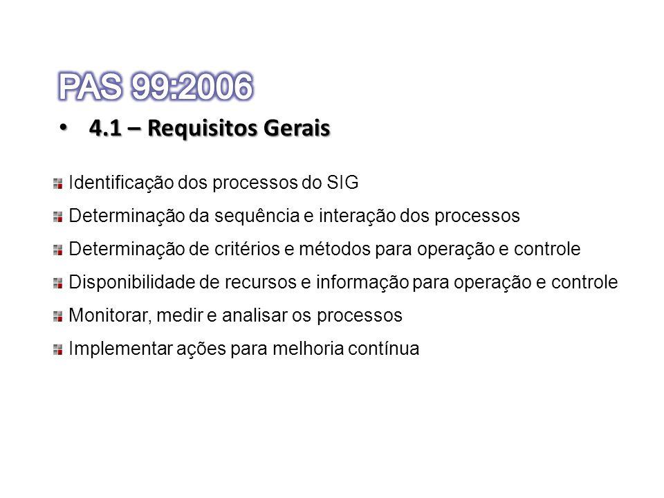 4.1 – Requisitos Gerais 4.1 – Requisitos Gerais Identificação dos processos do SIG Determinação da sequência e interação dos processos Determinação de