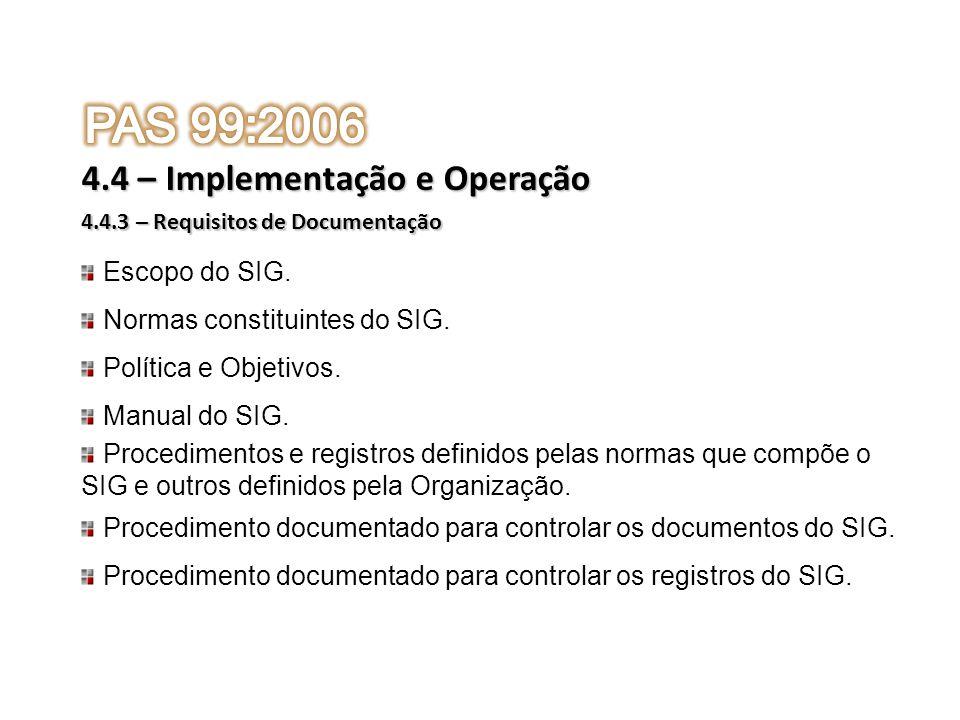 Escopo do SIG. Normas constituintes do SIG. Política e Objetivos. Manual do SIG. Procedimentos e registros definidos pelas normas que compõe o SIG e o