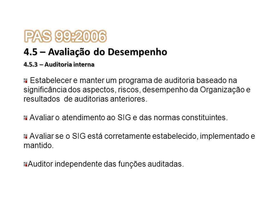 4.5.3 – Auditoria interna 4.5 – Avaliação do Desempenho Estabelecer e manter um programa de auditoria baseado na significância dos aspectos, riscos, d