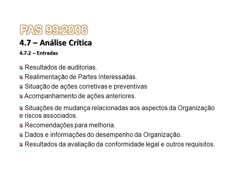 4.7.2 – Entradas 4.7 – Análise Crítica Resultados de auditorias. Realimentação de Partes Interessadas. Situação de ações corretivas e preventivas Acom