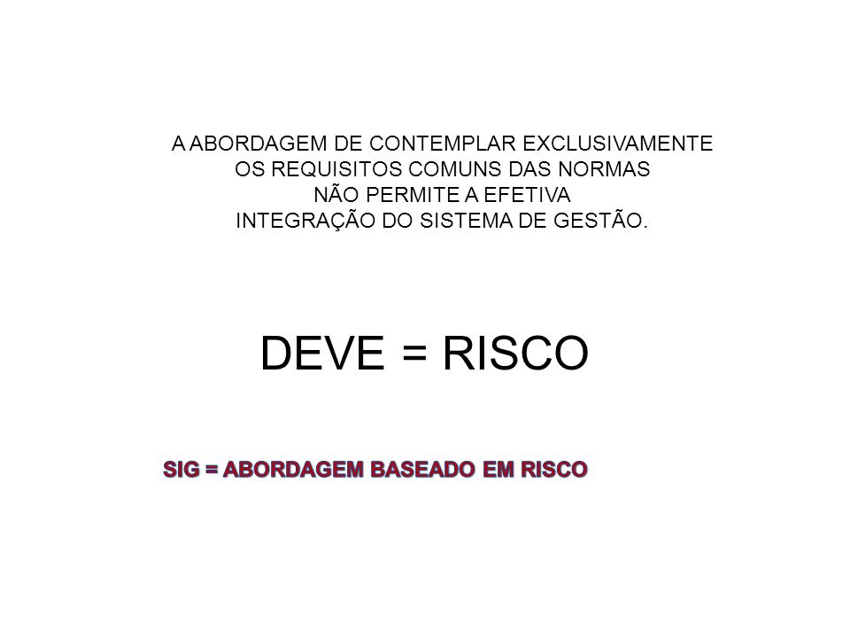 CONTROLES DO SIG RISCO SIG Qualidade da saída do processo Impacto ambiental negativo Lesão/doença ocupacional CONT RISCO